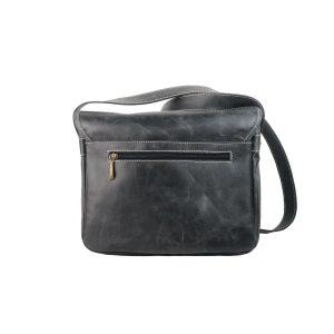 Bolso bandolera de piel vintage bolsillos negro 1