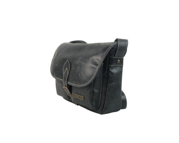 Bolso bandolera de piel vintage bolsillos negro 2