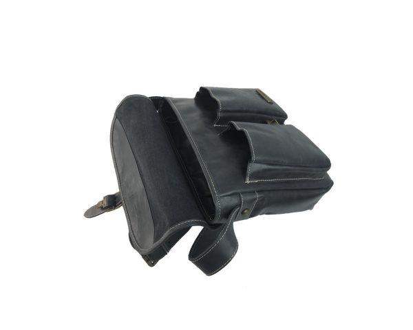 Bolso bandolera de piel vintage bolsillos negro 3