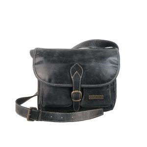 Bolso bandolera de piel vintage bolsillos negro