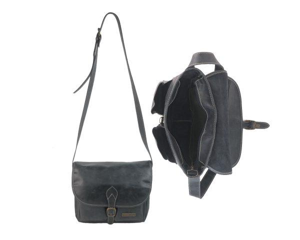 Bolso bandolera de piel vintage bolsillos negro 4