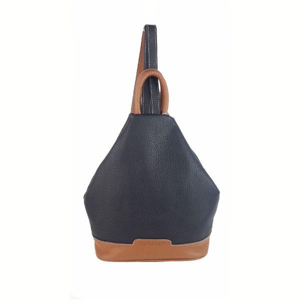 mochila de piel antirrobo marino y cuero