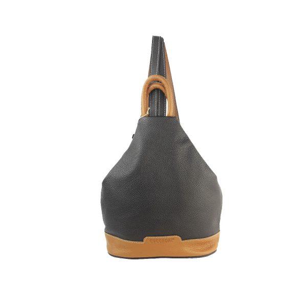mochila de piel antirrobo negro y cuero