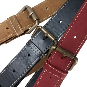 Bolso de cuero bolsillos vintage asas