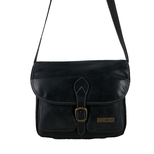 Bolso de cuero bolsillos vintage negro
