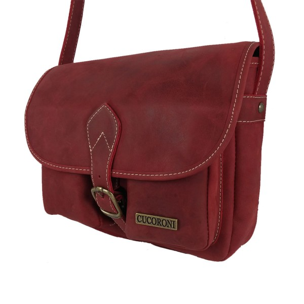 Bolso de cuero bolsillos vintage rojo-1