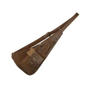 bandolera de piel cruzada cuero, artesana y hecha en España