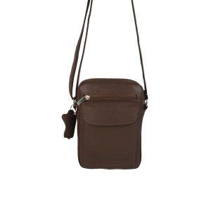bolso de hombre de piel marrón , piel auténtica