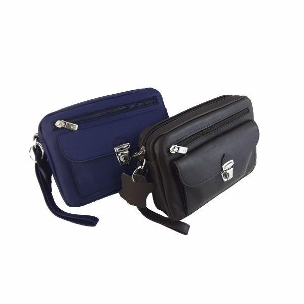 bolso de mano hombre de piel azul, marron oscuro, modelo bolsillo