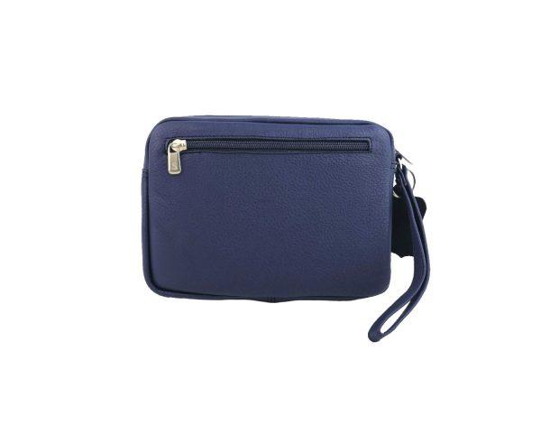 bolso de mano hombre de piel azul modelo bolsillo 1