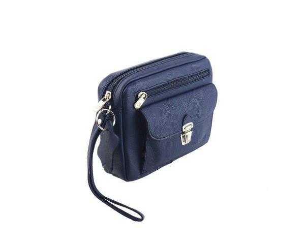 bolso de mano hombre de piel azul modelo bolsillo 2