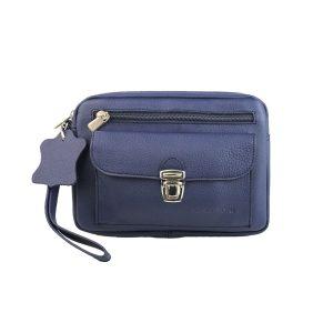 bolso de mano hombre de piel azul modelo bolsillo