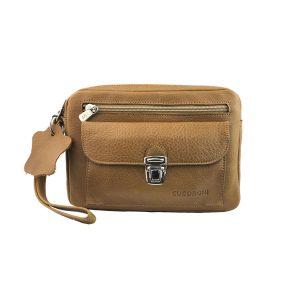 bolso de mano hombre de piel camel modelo bolsillo