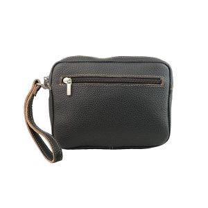 bolso de mano hombre de piel marron oscuro