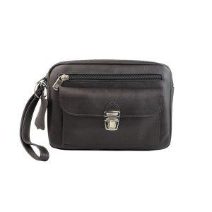 bolso de mano hombre de piel marron oscuro modelo bolsillo