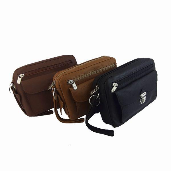 bolso de mano hombre de piel negro , marron, camel, modelo bolsillo