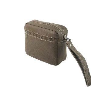 bolso de mano hombre de piel taupe 2