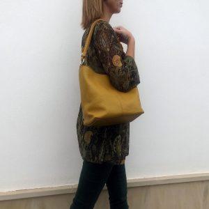 bolso de piel amarillo mostaza mod.verona mod5