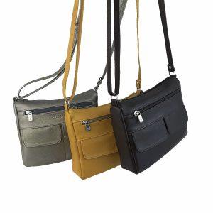 bolso de piel clasic multibolsillos plata vieja-camel y negro