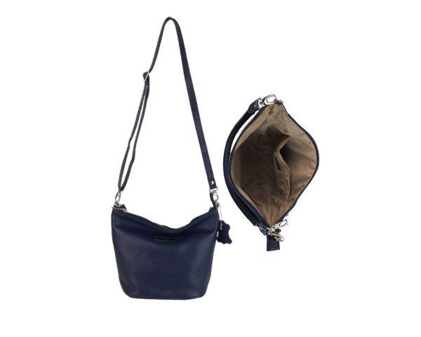 bolso de piel cubo azul 3