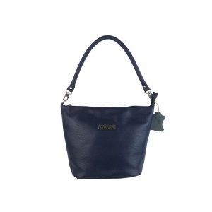 bolso de piel cubo azul, hecho en España
