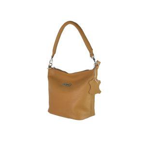 bolso de piel cubo camel