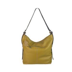 bolso de piel cuco amarillo mostaza y marrón oscuro 1