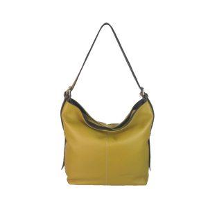 bolso de piel cuco amarillo mostaza y marron oscuro
