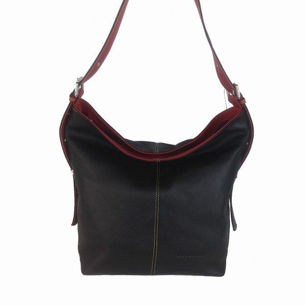 bolso de piel cuco negro y rojo