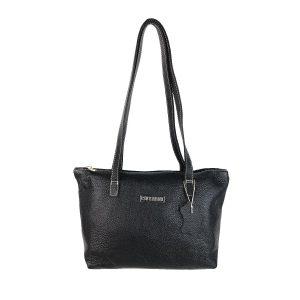 bolso de piel shopping mediano negro