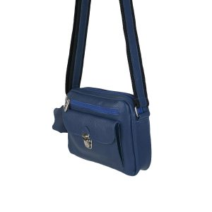 bolso de piel tupi horizontal azul 2