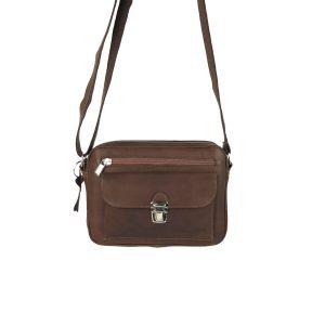 bolso de piel tupi horizontal marron