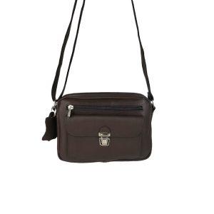 bolso de piel tupi horizontal marron oscuro