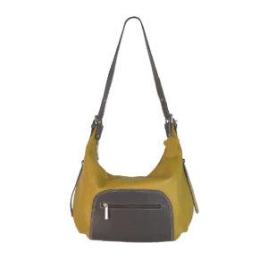 bolso gondola de piel amarillo mostaza y marrón oscuro