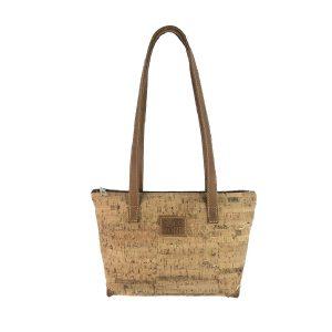 bolso shopping mediano de corcho y piel cuero