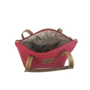 bolso shopping mediano de lona rojo y piel cuero 3