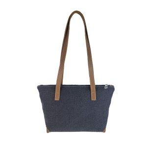 bolso shopping mediano lona azul marino y piel cuero 1