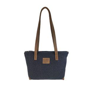 bolso shopping mediano lona azul marino y piel cuero