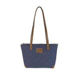 bolso shopping mediano lona azul y piel cuero