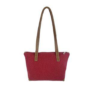 bolso shopping mediano lona rojo y piel cuero 1