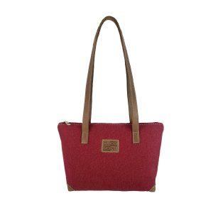 bolso shopping mediano lona rojo y piel cuero