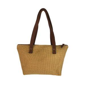 bolso shopping mediano yute y piel marrón 2
