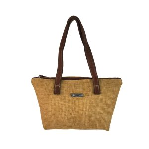bolso shopping mediano yute y piel marrón