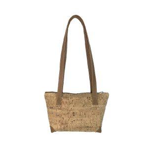 bolso shopping pequeño de corcho y piel cuero 1