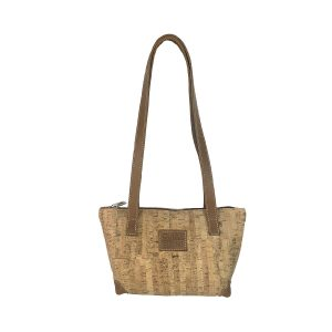 bolso shopping pequeño de corcho y piel cuero