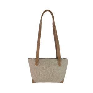 bolso shopping pequeño lona arena y piel cuero 1