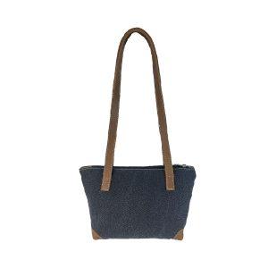 bolso shopping pequeño lona azul marino y piel cuero 1