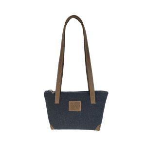 bolso shopping pequeño lona azul marino y piel cuero