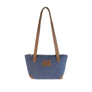 bolso shopping pequeño lona azul y piel cuero