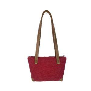 bolso shopping pequeño lona rojo y piel cuero 1